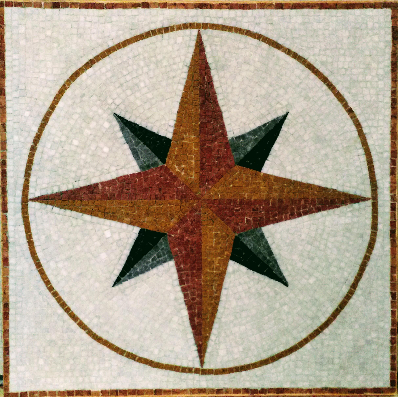 mosaico antico in marmi policromi rosa dei venti