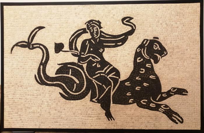 ancient roman mosaic black and white