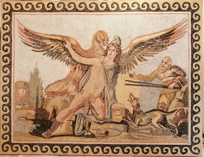 ancient roman mosaic mythological scene